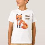 Amo el zorro lindo del dibujo animado de Kawaii de Playera
