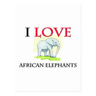 Amo elefantes africanos tarjetas postales