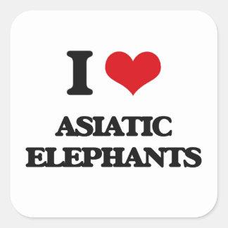 Amo elefantes asiáticos pegatina cuadrada