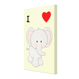 Amo elefantes lienzo envuelto para galerías