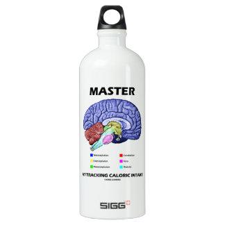Amo en el seguimiento de la aportación calórica botella de agua