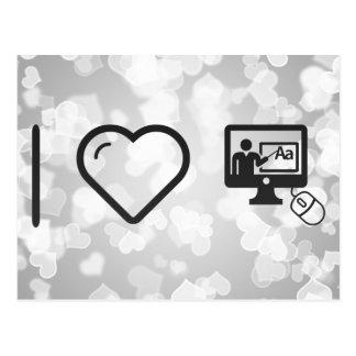 Amo en línea el aprender tarjeta postal