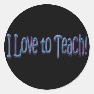 ¡Amo enseñar! Pegatina Redonda