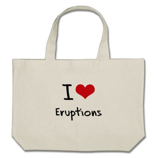 Amo erupciones bolsa lienzo