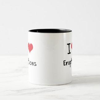 Amo erupciones tazas de café