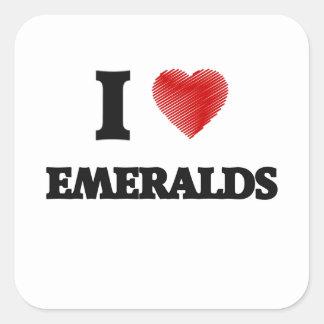 Amo esmeraldas pegatina cuadrada