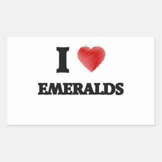 Amo esmeraldas pegatina rectangular
