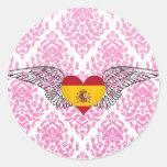 Amo España - alas Pegatinas Redondas