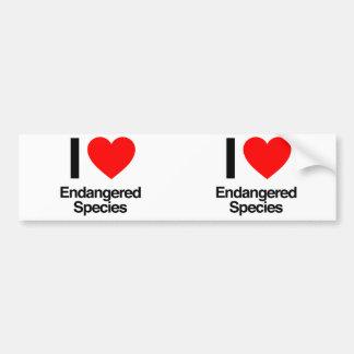 amo especie en peligro pegatina de parachoque