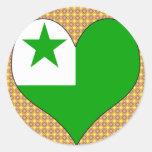 Amo esperanto etiqueta redonda