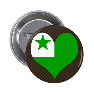 Amo esperanto pin redondo de 2 pulgadas