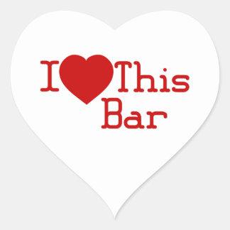 Amo esta barra pegatinas de corazon personalizadas