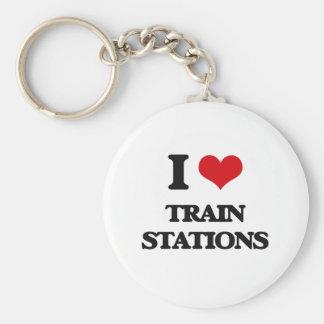 Amo estaciones de tren llavero redondo tipo chapa