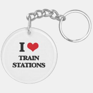 Amo estaciones de tren llavero redondo acrílico a doble cara