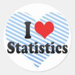 Amo estadísticas etiqueta redonda