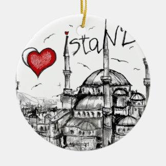 Amo Estambul Adorno Navideño Redondo De Cerámica