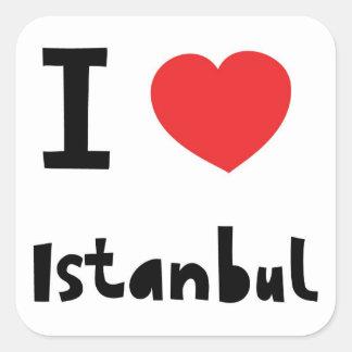 Amo Estambul Pegatina Cuadrada