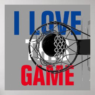 Amo este baloncesto del juego de motivación póster