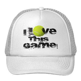 Amo este casquillo del tenis del juego gorro de camionero