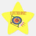 Amo este deporte pegatinas forma de estrella personalizadas