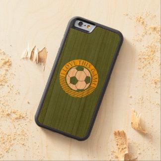 Amo este juego - grunge del fútbol/del fútbol funda de iPhone 6 bumper cerezo