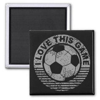 Amo este juego - grunge del fútbol/del fútbol imán cuadrado