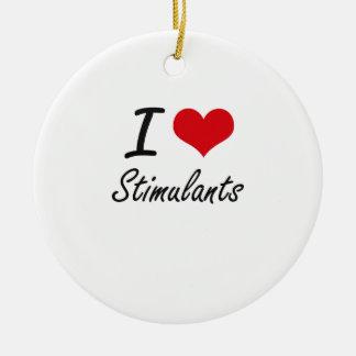 Amo estimulantes adorno navideño redondo de cerámica