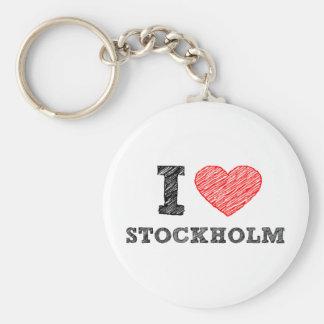 Amo Estocolmo Llavero Redondo Tipo Pin