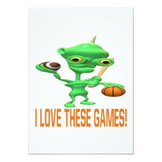 """Amo estos juegos invitación 5"""" x 7"""""""