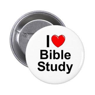Amo estudio de la biblia (del corazón) pin redondo de 2 pulgadas