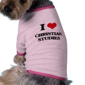 Amo estudios cristianos camiseta con mangas para perro
