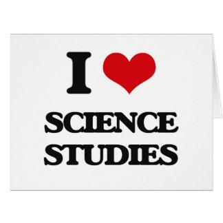 Amo estudios de la ciencia tarjeta de felicitación grande