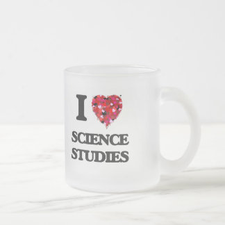 Amo estudios de la ciencia taza de cristal