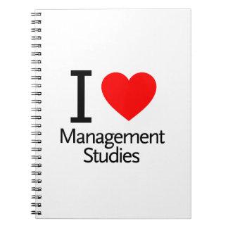 Amo estudios de la gestión libro de apuntes