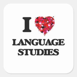 Amo estudios de la lengua pegatina cuadrada