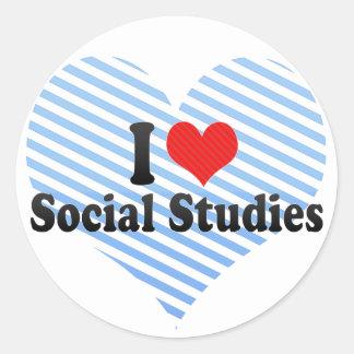 Amo estudios sociales pegatina redonda