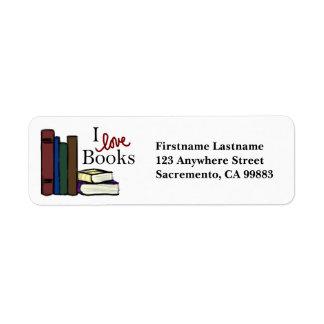 Amo etiquetas del remite de los libros etiqueta de remite