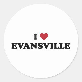 Amo Evansville Indiana Pegatina Redonda