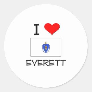 Amo Everett Massachusetts Pegatinas Redondas