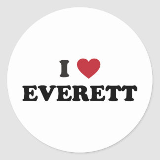 Amo Everett Washington Etiquetas Redondas