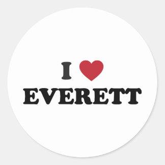 Amo Everett Washington Pegatina Redonda