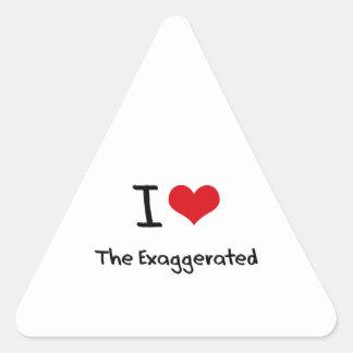 Amo exagerado calcomania trianguladas personalizadas