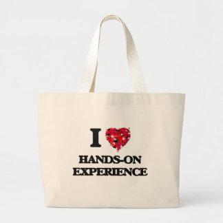 Amo experiencia práctica bolsa tela grande