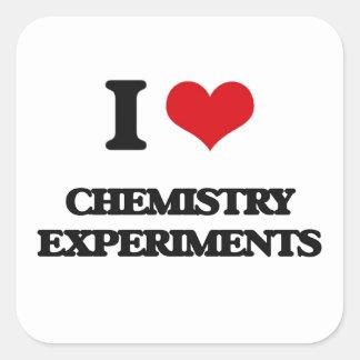 Amo experimentos de la química pegatina cuadrada