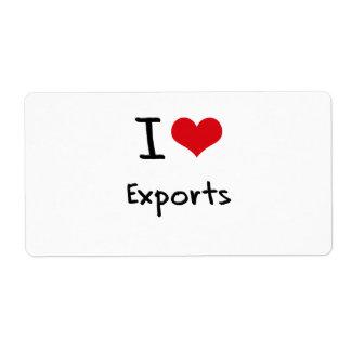 Amo exportaciones etiqueta de envío