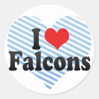 Amo Falcons Pegatina Redonda