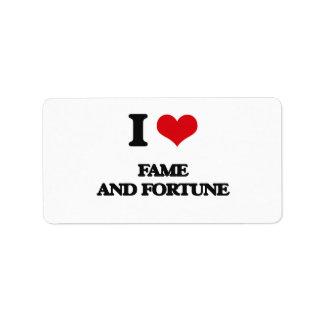 Amo fama y fortuna etiqueta de dirección
