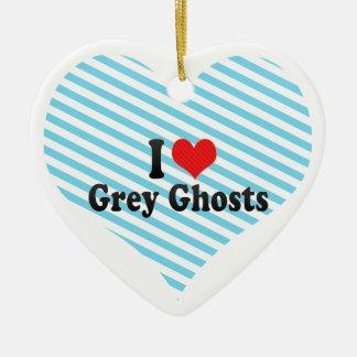 Amo fantasmas grises adorno de navidad