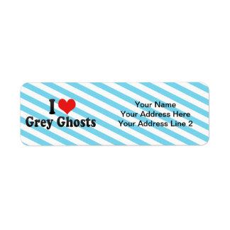 Amo fantasmas grises etiquetas de remite