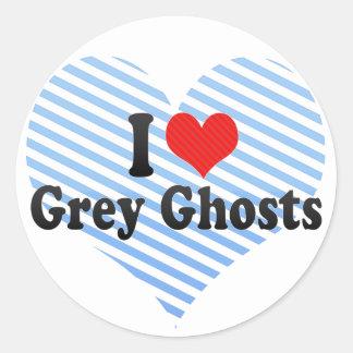 Amo fantasmas grises etiquetas redondas